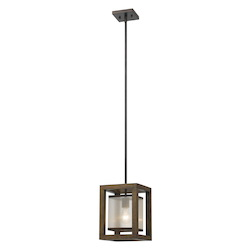 CAL Lighting Wood Mission 1 Light Pendant with Organza Shade