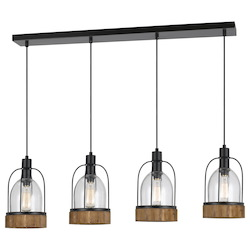 CAL Lighting Wood / Dark Bronze Beacon 4 Light Pendant