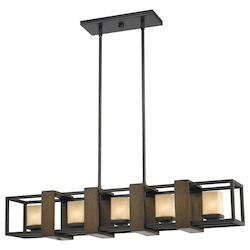 CAL Lighting Wood / Dark Bronze 5 Light Chandelier