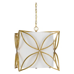 CAL Lighting French Gold Belton 3 Light 17.3in. Wide Chandeliers with Off White Linen Shade