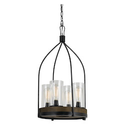 CAL Lighting Iron / Wood Chardon 4 Light 15in. Wide Chandeliers with Clear Glass Shades