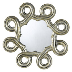 CAL Lighting Argent Abstract Formia Hexagon Polyurethane Beveled Mirror