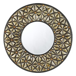 CAL Lighting Argent Slano Round Polyurethane Beveled Mirror