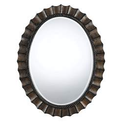 CAL Lighting Dark Bronze Sycamore Oval Beveled Mirror