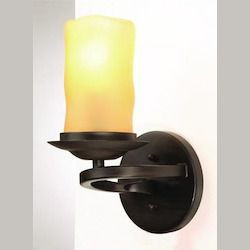 Artcraft One Light Amber Candle Glass Amber Wall Light