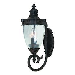 Artcraft Three Light Bronze Clear Seeded Ribbed Glass Wall Lantern