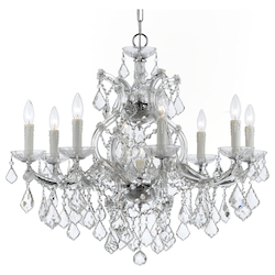 Crystorama Maria Theresa 9 Light Clear Crystal Swarovski Strass Chrome Chandelie