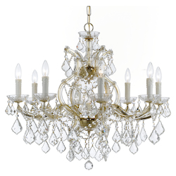 Crystorama Maria Theresa 9 Light Clear Swarovski Strass Crystal Gold Chandelier