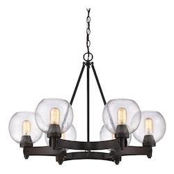 Golden Rubbed Bronze Galveston 6 Light Mini Chandelier with Seedy Glass Shades