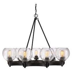 Golden Open Box Rubbed Bronze Galveston 9 Light Mini Chandelier with Seedy Glass Shades