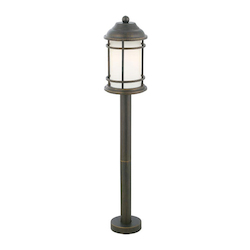 Eglo 1X22W Outdoor Post Light W/ Antique Bronze Finish & Opal Frosted  Glass