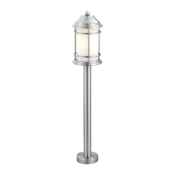 Eglo 1X100W Outdoor Post Light W/ Stainless Steel Finish & Opal Frosted Glass