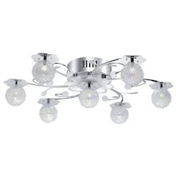Eglo 6X20W, 28X0.05W Led Ceiling Light W/ Chrome Finish & Iridescent Glass