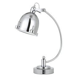 CAL Lighting 60W Hubble Metal Adjustable Desk Lamp In Chrome With Turn Base Switch