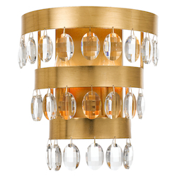 Crystorama Perla 2 Light Antique Gold Sconce