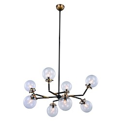 Urban Classic Leda  Collection Pendant Lamp D:44In. H:53In. Lt:8 Burnished Brass&Flat Blac