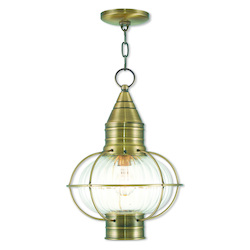 Livex Lighting Newburyport Antique Brass Chain Lantern