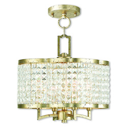 Livex Lighting Grammercy Hand Applied Winter Gold Convertible Mini Chandelier/Ceiling Mount
