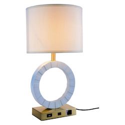 Elegant Decor TL3002 Brio Collection 1-Light Brushed Brass And White Finish Table Lamp