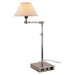 Elegant Decor TL3006 Brio Collection 1-Light Polished Nickel Finish Table Lamp