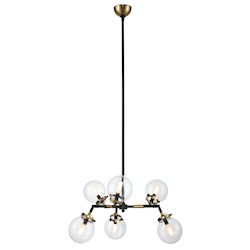 Urban Classic Leda  Collection Pendant Lamp D:36In. H:53In. Lt:6 Burnished Brass&Flat Blac