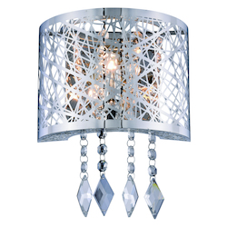 Elegant Lighting Finley Collection Wall Sconce W:8In. H:6In. E:4In. Lt:1 Chrome Finish Roya