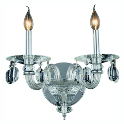 Elegant Lighting Augusta Collection Wall Sconce W:15In. H:10In. E:14In. Lt:2 Chrome Finish
