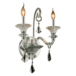 Elegant Lighting Aurora Collection Wall Sconce W:16In. H:20In. E:11In. Lt:2 Chrome Finish