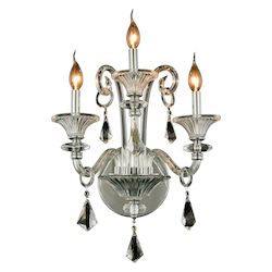 Elegant Lighting Aurora Collection Wall Sconce W:19In. H:20In. E:11In. Lt:3 Chrome Finish