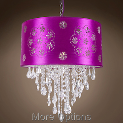 JM 1 Light Purple Drum Shade Pendant in Chrome