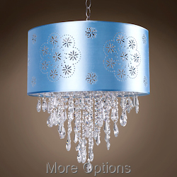 JM 1 Light Blue Drum Shade Pendant in Chrome
