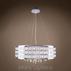 JM Limited Edition Chrome 5 Light Pendant Flush Mount with Metal Shade