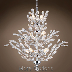 JM Branch of Light 18 Light Chrome Chandelier with Crystals