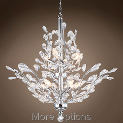 JM Branch of Light 10 Light Chrome chandelier with Crystals