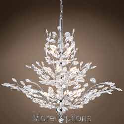 JM Branch of Light 13 Light Chrome Chandelier with Crystals