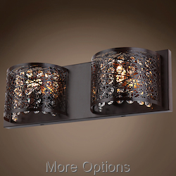 JM Lazer 2 Light Bronze Sconce with Steel Shade
