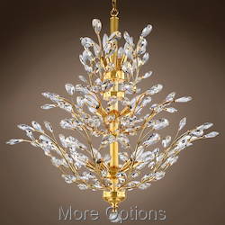 JM Branch of Light 10 Light Gold Chandelier with Crystals