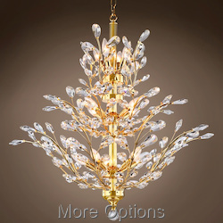 JM Branch of Light 13 Light Gold Chandelier with Crystals