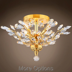 JM Branch of Light 4 Light Gold Flush Mount with Crystals