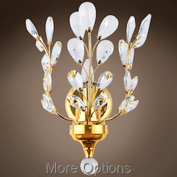 JM Branch of Light 1 Light Gold Wall Sconce with Crystals