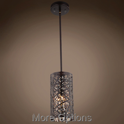 JM Lazer 1 Light Bronze Steel Shade Pendant