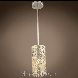 JM Lazer 1 Light Golden Silver Steel Shade Pendant