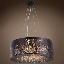 JM Lazer 9 Light Bronze Steel Shade Pendant
