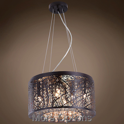 JM Lazer 7 Light Bronze Steel Shade Pendant