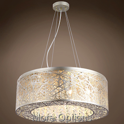 JM Lazer 9 Light Golden Silver Steel Shade Pendant