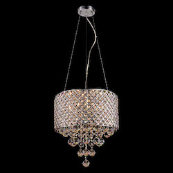 Bethel LD03CRS Clear Crystal Chrome Metal Light Fixture