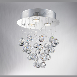 Bethel LX03SH Clear Crystal Chrome Metal Light Fixture