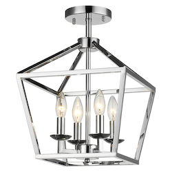 Bethel YS6217-4SF Candle Light Shiny Nickel Metal Light Fixture
