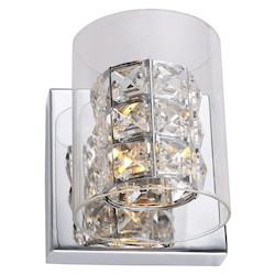 Bethel ZP49 Clear Crystal Chrome Metal Light Fixture