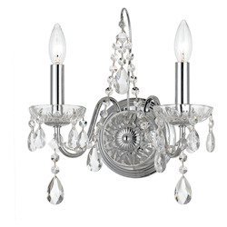 Crystorama Traditional Crystal 2 Light Clear Crystal Chrome Sconce